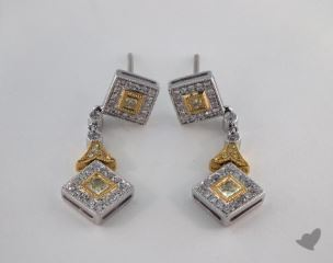 18K White and yellow - 0.32tcw  - Radiant - Yellow Diamond Earrings