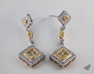 18K White and yellow - 0.44tcw  - Radiant - Yellow Diamond Earrings