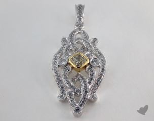 18K White and yellow - 0.33ct  - Radiant - Yellow Diamond Pendant