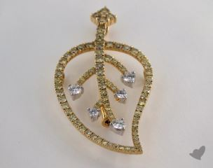18K White and yellow - 0.34ct  - Round - White Diamond Pendant