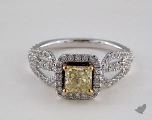 18k Two Tone Gold 1.46ctw Radiant Yellow & Pave Diamond Ring