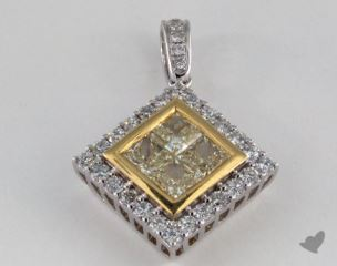 18K White and yellow - 0.73ct  - Princess - Yellow Diamond Pendant