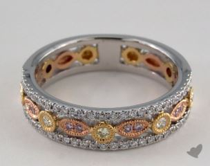 18K White, Yellow, and Rose Gold Pave Diamond Ring