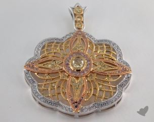 18k White Yellow and Rose Gold - 0.28ct  - Marquise - Yellow Diamond Pendant