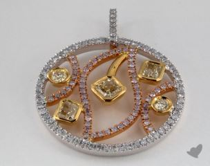 18k White Yellow and Rose Gold - 0.66ct  - Radiant - Yellow Diamond Pendant