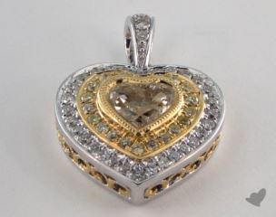 18K White and yellow - 1.05ct  - Heart - Yellow Diamond Pendant