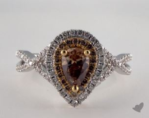 18K White & Yellow 1.09ctw Pear Champagne & Pave Diamond Ring