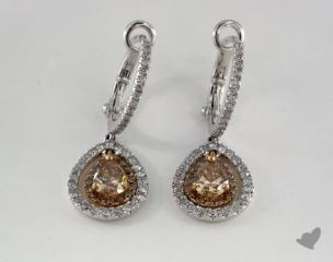 18K White and yellow - 0.71tcw  - Pear - Champagne Earrings