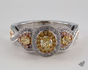 18k 3 Tone 1.08ctw Oval Yellow & Pave Diamond Ring