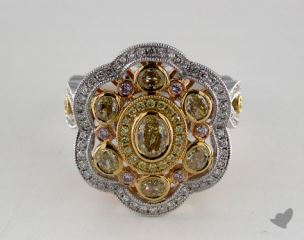 18k White Yellow and Rose Gold -  - Oval - Yellow Diamond