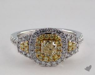 18K Two Tone Gold 1.46ctw Cushion Yellow & White Diamond Ring