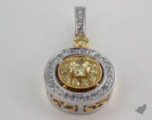 18K White and yellow - 0.20ct  - Oval - Yellow Diamond Pendant
