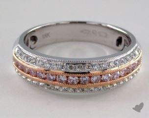 18K White and Rose Gold Diamond Pave Band