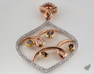 18k White and Rose Gold - 0.51ct  - Mixed - Champagne Pendant
