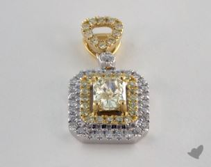 18K White and yellow - 0.38ct  - Radiant - Yellow Diamond Pendant