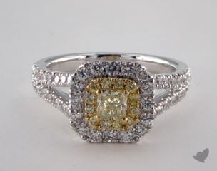 18K Two Tone Gold 1.24ctw Cushion Yellow & Pave Diamond Ring