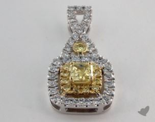 14K White and yellow - 0.47ct  - Radiant - Yellow Diamond Pendant