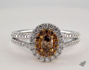 14K Two Tone Gold 1.14ctw Oval Champagn & White Diamond Ring