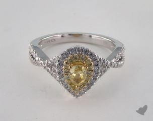 18K 2 Tone Gold .74ctw Pear Yellow & Pave Diamond Ring