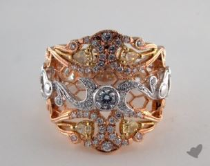 18k Three Tone 1.01ctw Round White & Yellow Diamond