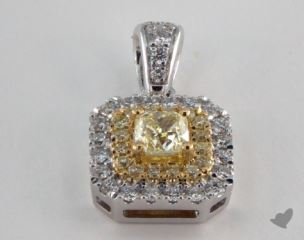 18K White and yellow - 0.31ct  - Radiant - Yellow Diamond Pendant