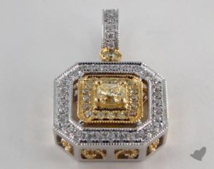 18K White and yellow - 0.24ct  - Radiant - Yellow Diamond Pendant