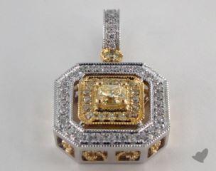 18K White and yellow - 0.24ct  - Radiant - Yellow Diamond Pendant