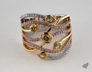 18k Three Tone Gold 1.28ctw Yellow & Pink Diamond Ring