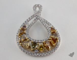 18K White and yellow - 1.36ct  - Mixed - Yellow and Champagne Pendant