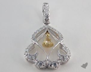 18K White and yellow - 0.19ct  - Pear - Yellow Diamond Pendant