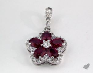 18K White Gold - 1.15ct  - Red Pendant