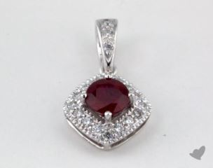 18K White Gold - 0.40ct  - Red Pendant