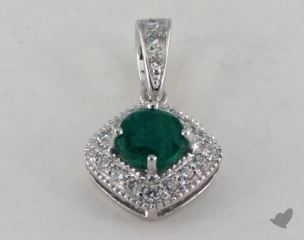 18K White Gold - 0.35ct  - Green Pendant
