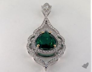 14k two tone - 2.98ct  - Green Pendant