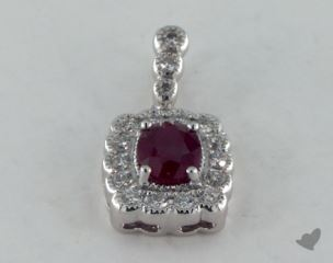18K White Gold - 0.60ct  - Red Pendant