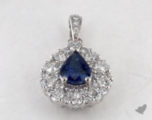 18K White Gold - 1.01ct  - Blue Pendant