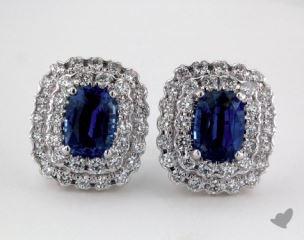 18K White Gold - 2.24tcw  - Blue Earrings