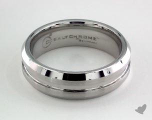 Cobalt chrome™ 7mm Comfort-Fit Satin-Finished Beveled Edge Design Ring
