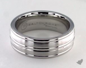 Cobalt chrome™ 8mm Comfort-Fit Satin-Finished High Polished Center and Round Edge Design Ring