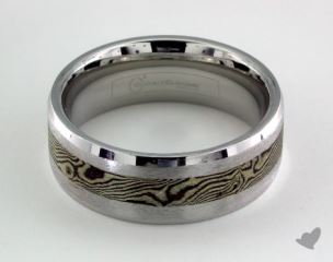 Cobalt chrome™- Silver 7mm Comfort-Fit Satin-Finished Silver Inlay Design Ring