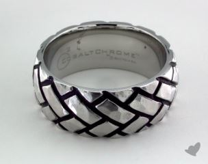 Cobalt chrome™ 9mm Comfort Fit Ring with Blackened Tread Pattern