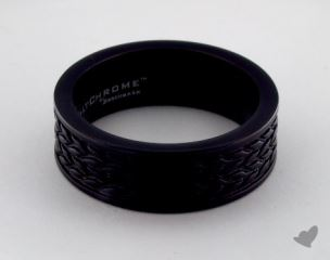 Blackened Cobalt chrome™ 7.5 mm Treaded Pattern Comfort Fit Ring