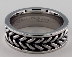 Cobalt chrome™ 8mm Zippered Pattern Center Comfort Fit Ring