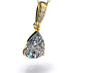 18k Yellow Gold 0.25ct Pave Bail Diamond Pendant