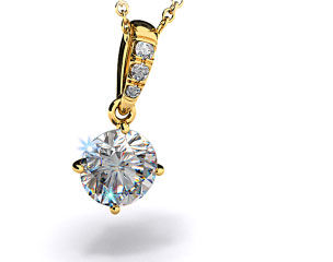 18k Yellow Gold 0.25ct H-I, SI Pave Bail Diamond Pendant