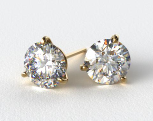 18k Yellow Gold 1/4ctw Three Prong Martini Round Brilliant Diamond Earrings