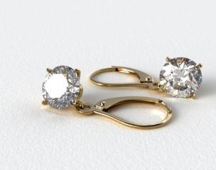 18k Yellow Gold 0.25ctw Diamond Leverback Dangle Earrings