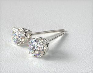 Platinum 1/4ctw Ladies Four Prong Round Brilliant Diamond Earrings