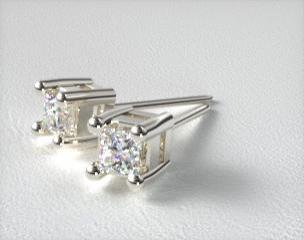 Pair of Ladies Classic 18k White Gold  Princess Cut Settings
