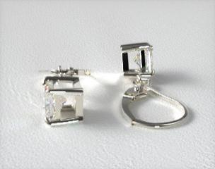 18k White Gold Leverback Dangle Princess Cut Earring Settings